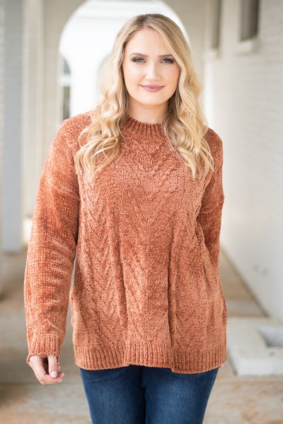 top, long sleeve, sweater, cable knit, chestnut, brown