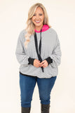 pullover, long sleeve, bubble sleeves, hood, drawstrings, fitted waistband, loose, pink hood, black, white, striped, comfy, outerwear, fall, winter