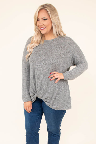 shirt, long sleeve, twisted hemline, flowy, heather gray, comfy, fall, winter