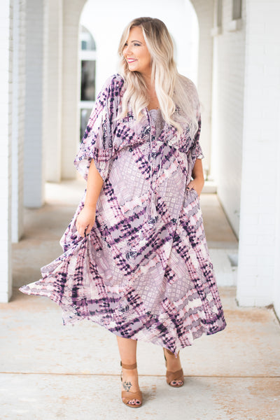dress, maxi, three quarter sleeve, vneck, tie top, pockets, flowy, purple, white, tie dye, comfy