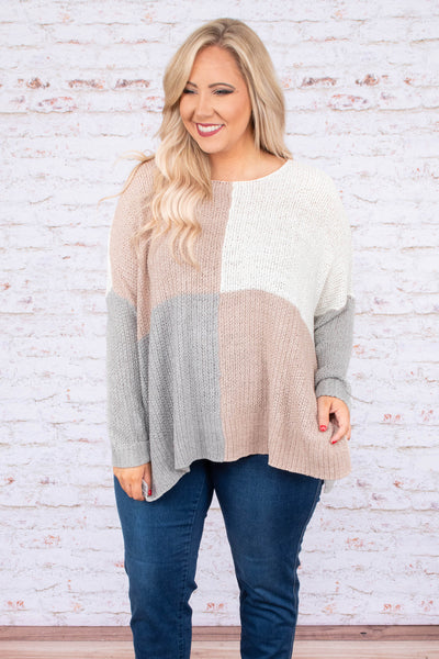 sweater, long sleeve, side slits, longer sides, flowy, white, mauve, gray, colorblock, comfy, fall, winter
