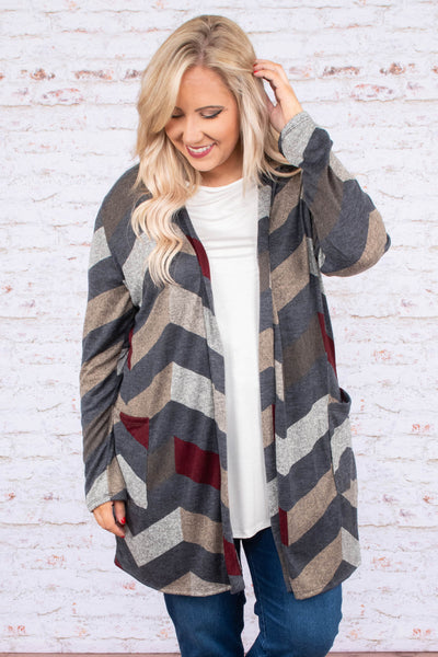 top, cardigan, long sleeve, open front, chevron, burgundy, grey, taupe