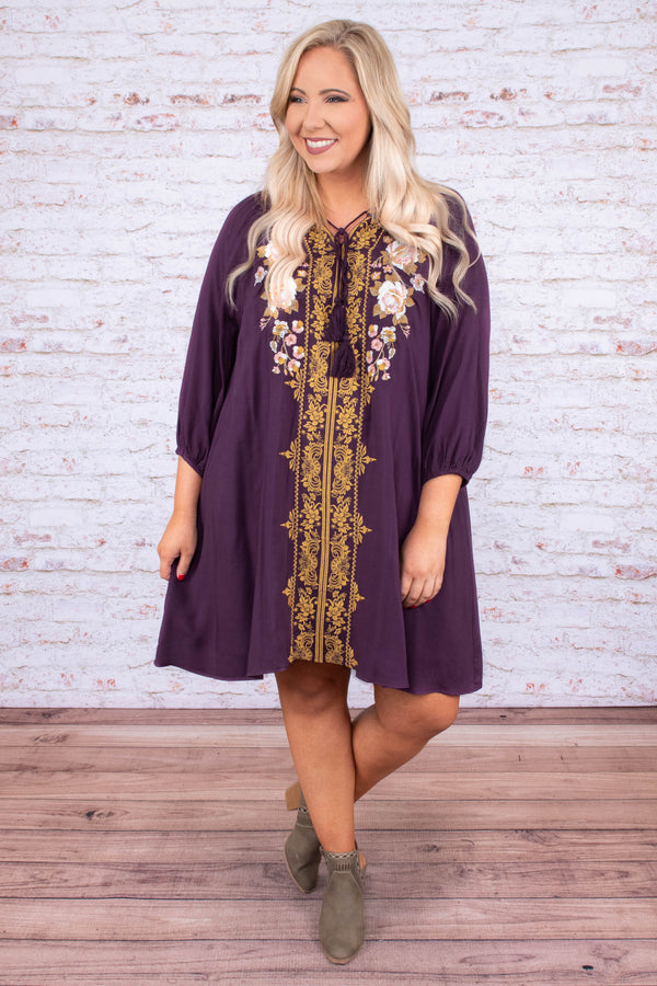 dress, short, three quarter sleeve, vneck, tie neck, bubble sleeves, flowy, plum, embroidered, gold, white, pink, comfy, fall, winter