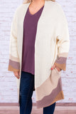 cardigan, long sleeve, bell sleeves, long, flowy, cream, mauve, purple, mocha, colorblock, comfy, outerwear, fall, winter