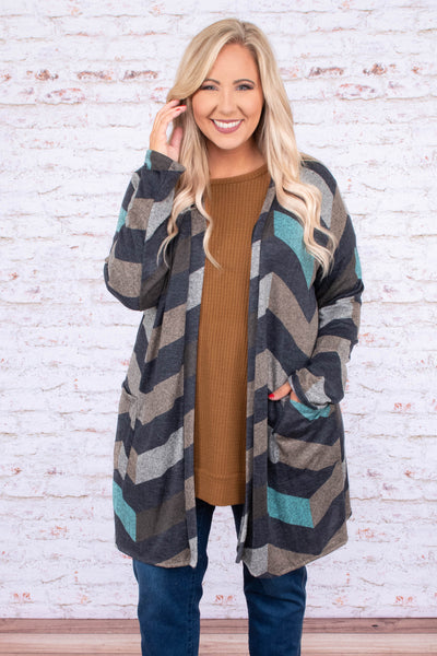 cardigan, long sleeve, long, pockets, mint, gray, brown, chevron, comfy, outerwear, fall, winter