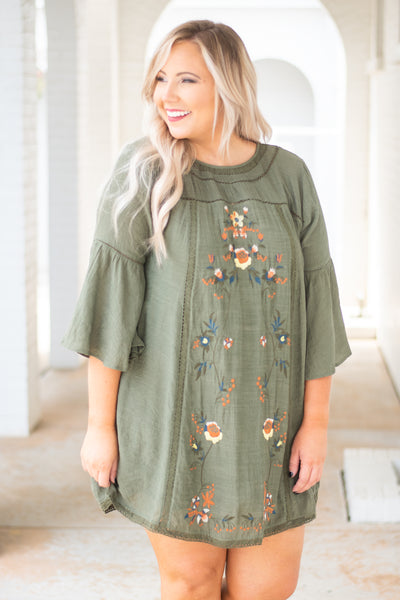 Autumn Is Calling Dress, Olive