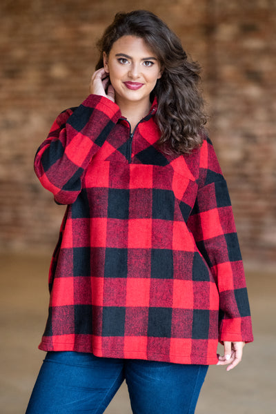 pullover, long sleeves, three quarter sip, collar, red, black, plaid, fuzzy, warm, cozy, fall, winter