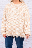 sweater, long sleeve, bubble sleeves, distressed hem, fuzzy, comfy, beige, white, mixed colors, fall, winter