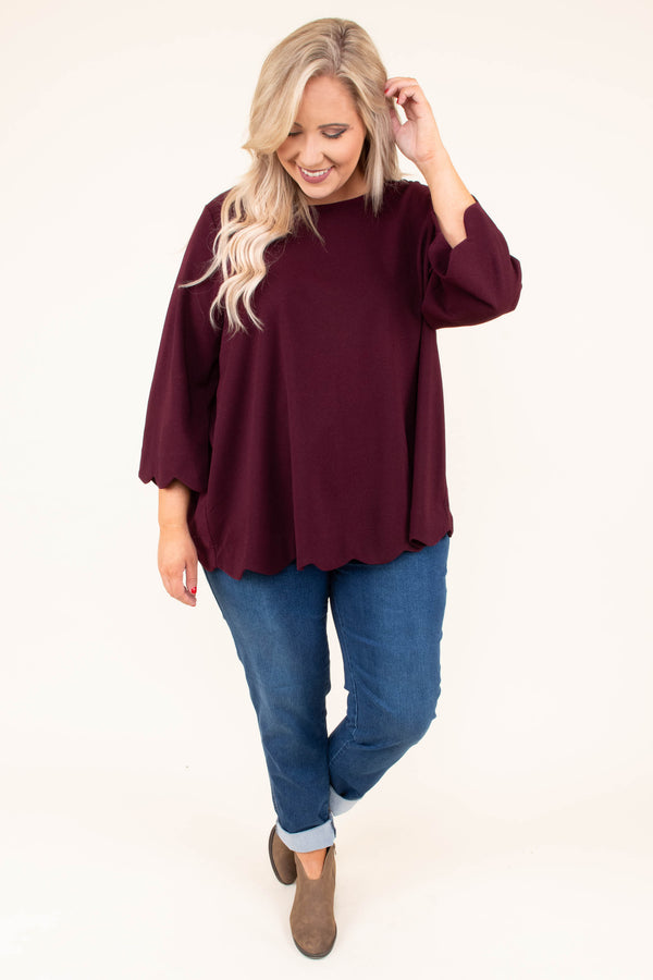 shirt, three quarter sleeve, wine, scallop hem, flowy, cross back detail