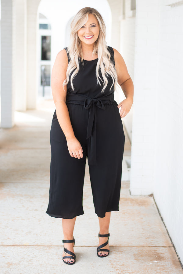 jumpsuit, sleeveless, cropped pants, tie waist, black, solid, comfy