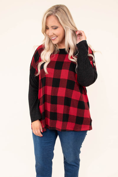 shirt, long sleeve, button details, flowy, longer back, red, black, plaid, fall, winter, comfy