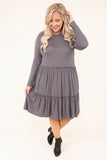 dress, short, long sleeve, babydoll, ruffles, flowy, gray, comfy, fall, winter