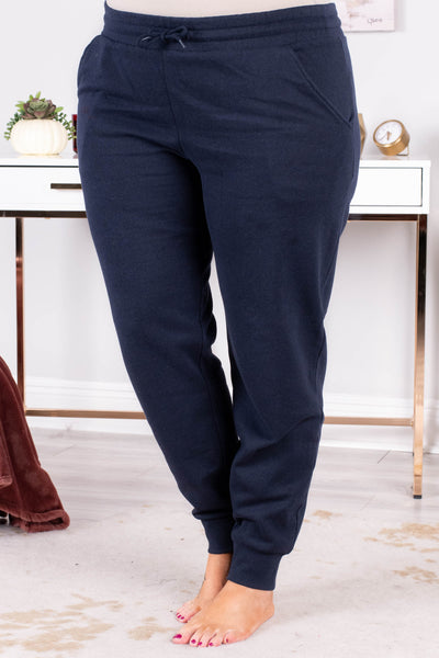 pants, long, fitted ankle, drawstring waist, navy, comfy, loungewear