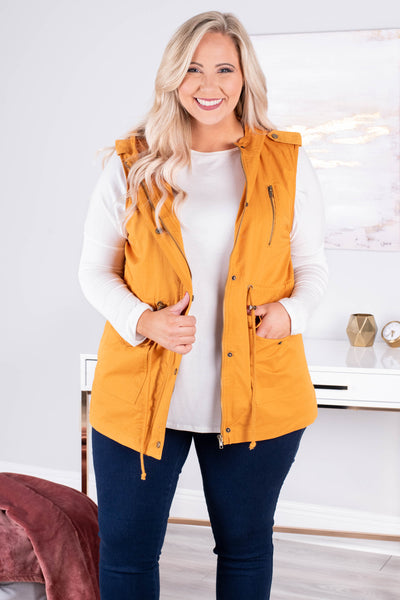 vest, sleeveless, hood, pockets, drawstring waist, zip up, mustard, outerwear, fall, winter
