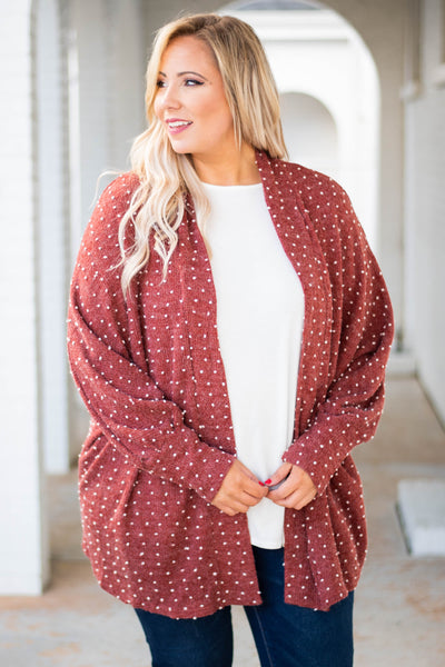 cardigan, long sleeve, long, flowy, burgundy, polka dots, white, comfy, outerwear, fall, winter