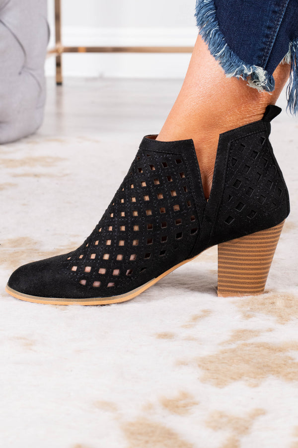 booties, medium heel, black, cutout, cutout ankle