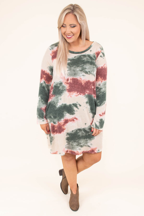 dress, short, long sleeve, pockets, flowy, taupe, olive, red, tie dye, comfy, fall, winter