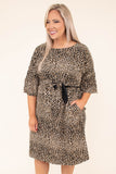 dress, short, short sleeve, belted waist, pockets, loose, taupe, black, leopard, comfy, fall, winter