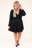 dress, short, long sleeve, vneck, scallop neckline, bubble sleeves, wrap top, flowy skirt, black, comfy, fall, winter