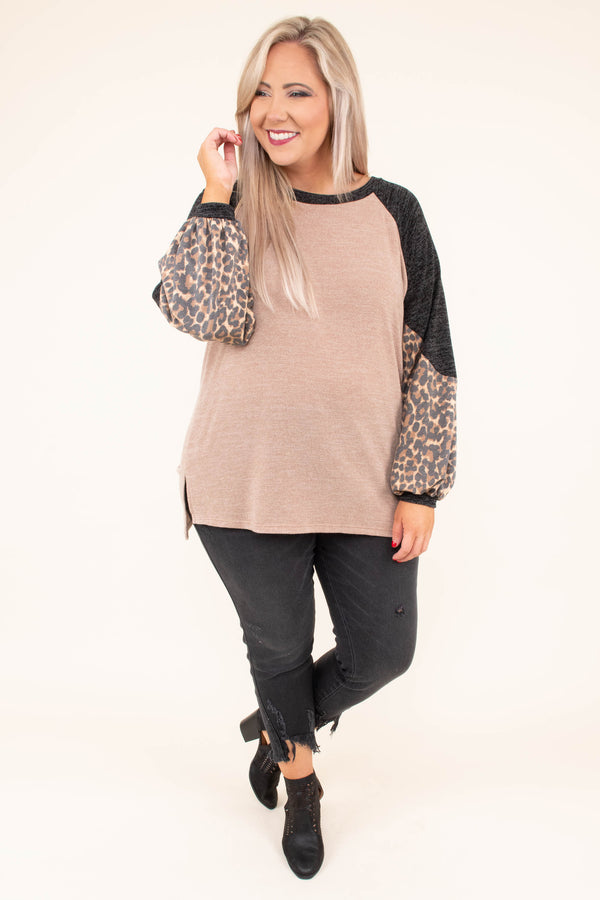 shirt, long sleeve, bubble sleeves, taupe, black, brown, leopard, colorblock, flowy, comfy, fall, winter
