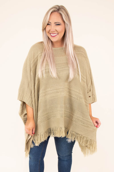 poncho, three quarter sleeve, asymmetrical hem, fringe, taupe, flowy, comfy, outerwear, fall, winter