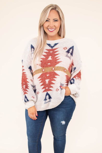 sweater, long sleeve, bubble sleeve, curved hem, cream, orange, blue, brown, aztec, comfy, fall, winter