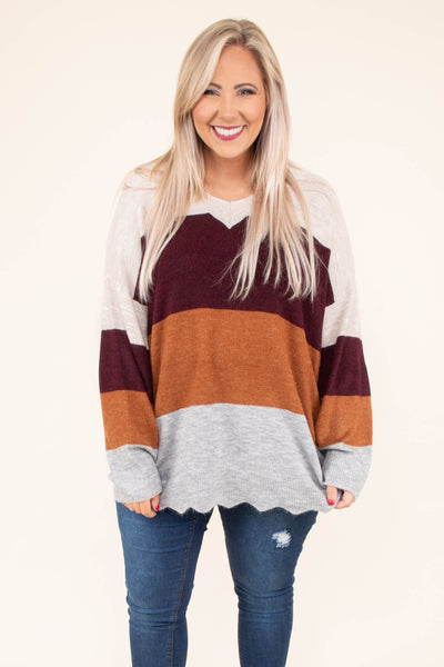 sweater, long sleeve, bubble sleeve, curved hem, flowy, white, burgundy, orange, gray, colorblock, comfy, fall, winter