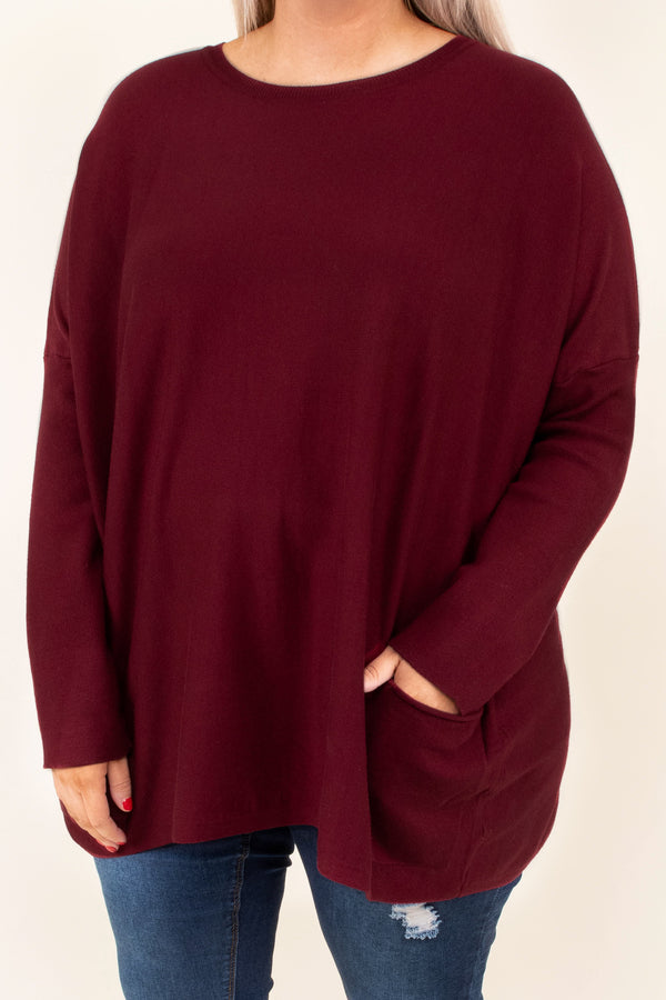 top, casual top, red, solid, long sleeve, pockets