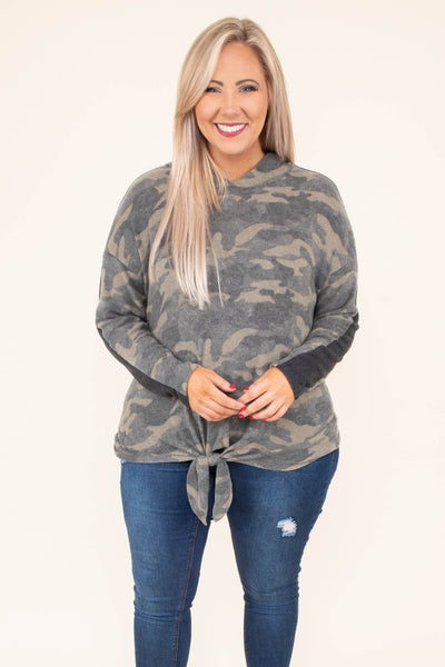 hoodie, long sleeve, hood, tie front, short, green, camo, comfy, outerwear, fall, winter