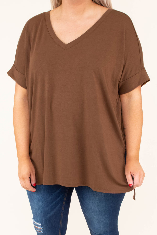 shirt, short sleeve, vneck, side slits, flowy, brown, comfy, cuffed sleeve
