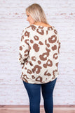 shirt, long sleeve, bubble sleeve, vneck, fitted waistband, white, brown, leopard, comfy, fall, winter