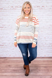 sweater, long sleeve, short, comfy, white, red, blue, striped, fall, winter