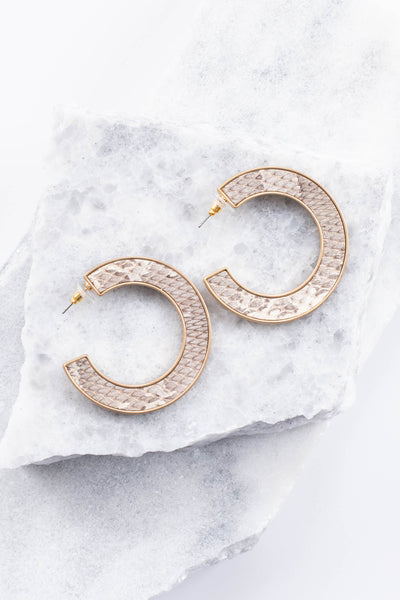 earrings, hoops, gold outline, gray, white, snakeskin