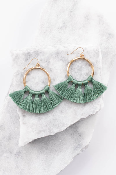 earrings, dangly, gold hoop, green tassels