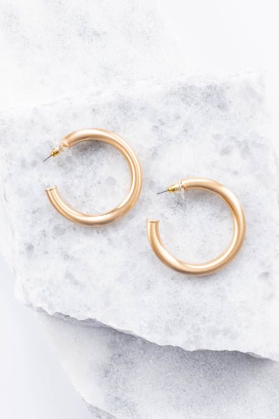 earrings, hoops, thick, gold