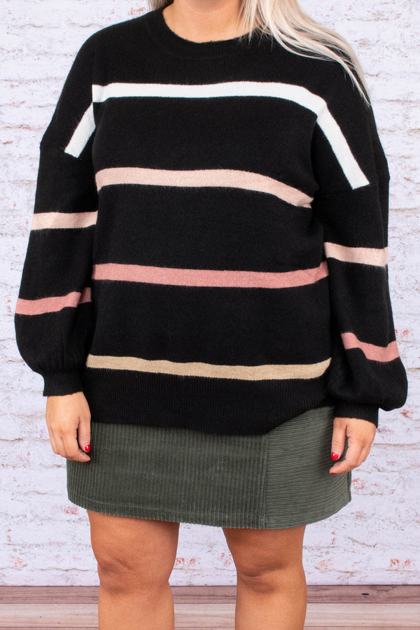 sweater, long sleeve, bubble sleeve, black, white, pink, tan, striped, comfy, fall, winter