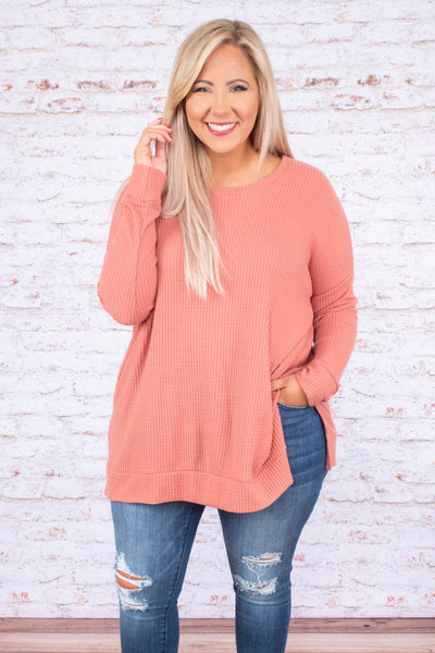 tunic, long sleeve, long, side slits, waffle knit, flowy, pink, comfy, fall, winter