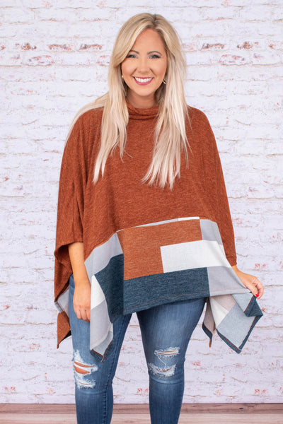 poncho, three quarter sleeve, turtleneck, asymmetrical hem, flowy, rust, gray, white, navy, colorblock, comfy, outerwear, fall