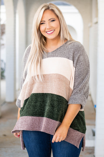 sweater, three quarter sleeve, vneck, cuffed sleeves, longer back, comfy, gray, white, tan, olive, mauve, colorblock, fall, winter