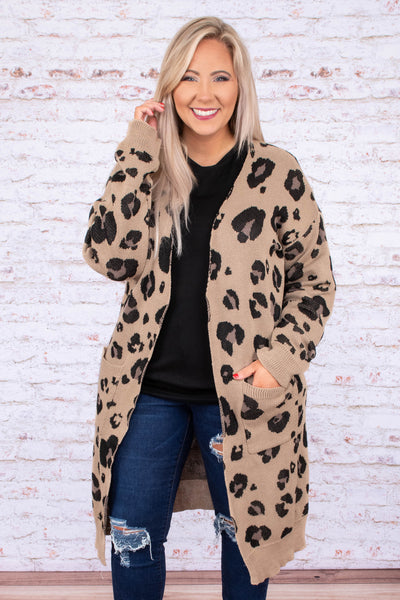 cardigan, long sleeve, long, pockets, khaki, black, leopard, comfy, outerwear, fall, winter