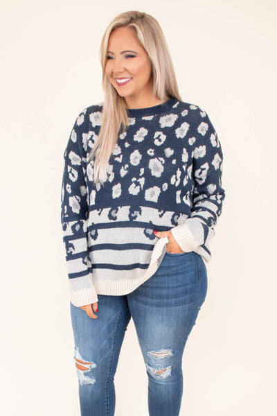 sweater, long sleeve, navy, white, leopard, stripes, comfy, fall, winter