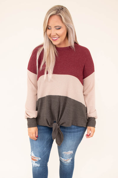 sweater, long sleeve, tie front, waffle knit, burgundy, tan, mocha, colorblock, comfy, fall, winter