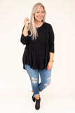 shirt, three quarter sleeve, babydoll, curved hem, flowy, comfy, black, fall, winter