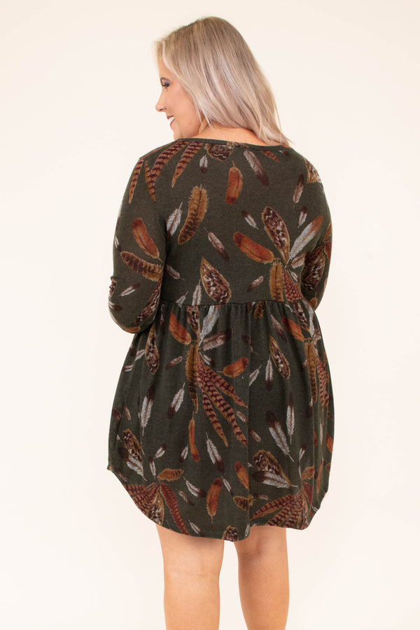 dress, short, three quarter sleeve, babydoll, flowy, olive, feathers, brown, gray, comfy, fall, winter