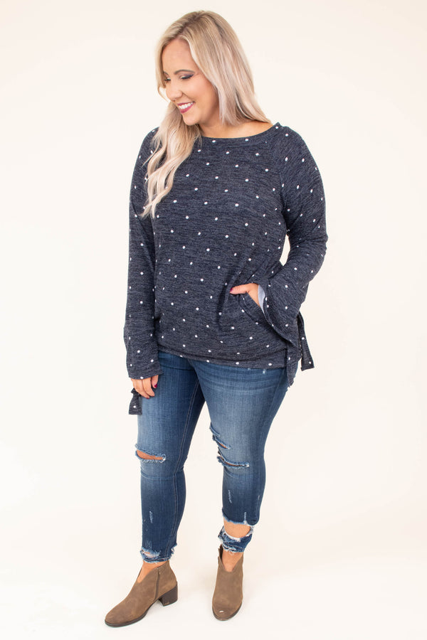 shirt, long sleeve, tie sleeve, fitted waistband, pockets, navy, polka dots, white, comfy, fall, winter