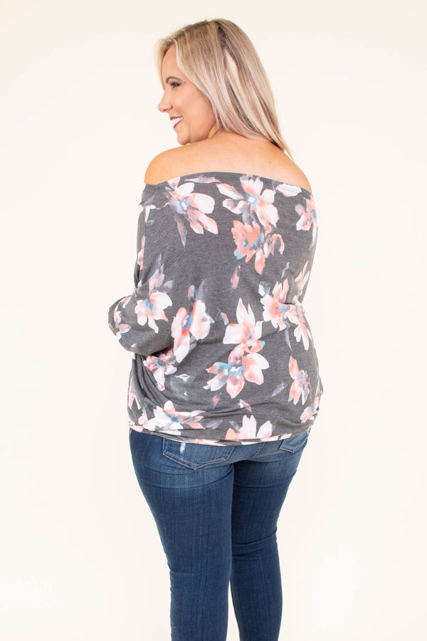 shirt, long sleeve, off the shoulder, short, fitted, drapey, gray, floral, pink, white, blue, comfy, fall, winter