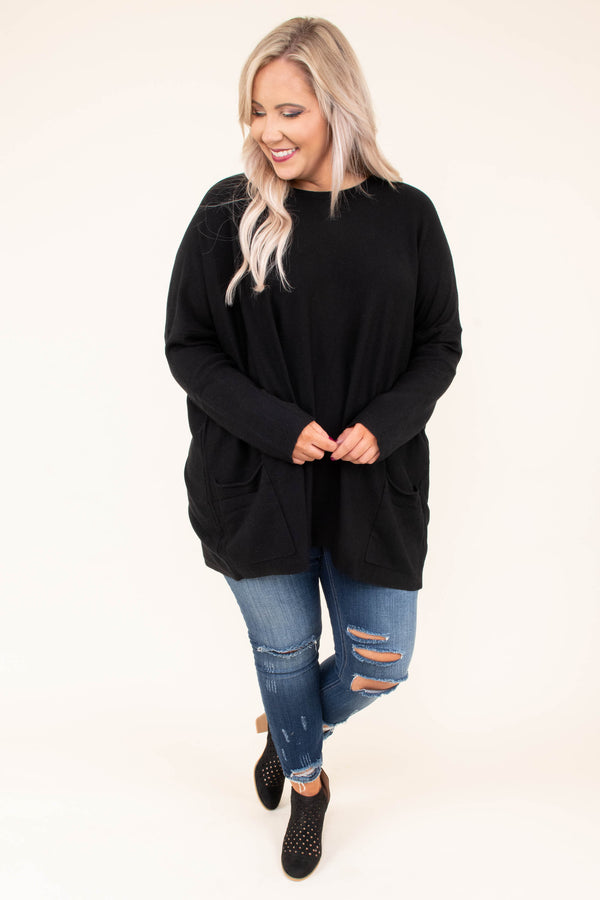 tunic, long sleeve, pockets, long, flowy, black, comfy, fall, winter