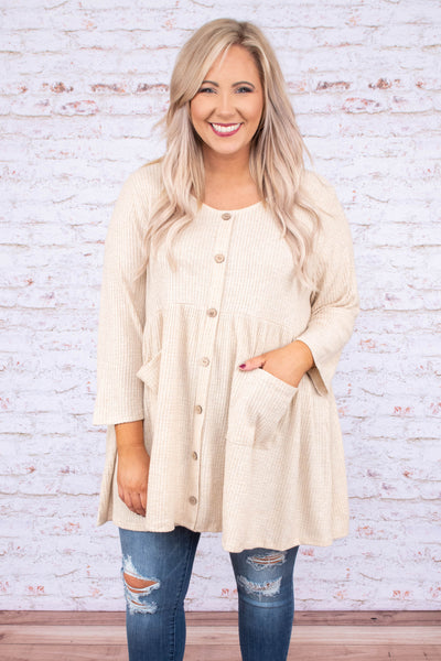 shirt, three quarter sleeve, scoop neck, long, babydoll, flowy, pockets, button down, waffle knit, oatmeal, comfy