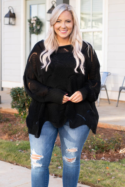 sweater, long sleeve, wavy hem, loose knit, black, comfy, fall, winter