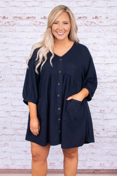 dress, short, three quarter sleeve, vneck, button down, babydoll, pockets, waffle knit, flowy, navy, comfy